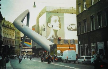 Intervento urbano (Roma, Corso Vittorio) tecnica mista su tela, 2002
