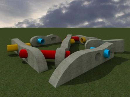 """Progetto per """"Labirinto d'innesti"""", parco giochi, 2006"""