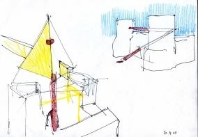 """Schizzo per """"S.U. Segnali Urbani"""", Porta San Paolo e Piramide Cestia, Roma, 2010"""
