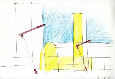 """Disegno per """"Accenti"""", sulla Torre Civica di Pomezia, 2011"""