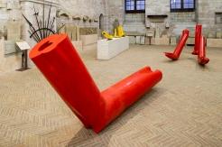 Veduta della mostra Flussi:il rosso, il giallo, palazzo dei Consoli, Gubbio, 2014
